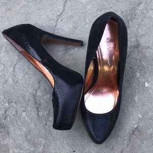BCBG Generation embossed leather platform shoes